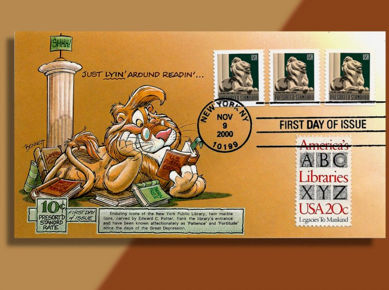 Library Lion Enjoys a Good Read on Presort Coil Bennett Cachetoons FDC