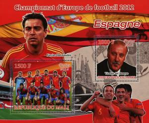 Mali Soccer European Championship 2012 Spain Sov. Sheet of 2 Stamps MNH