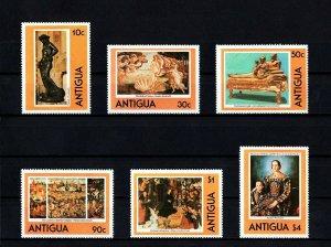 ANTIGUA - 1980 - FAMOUS PAINTINGS - BOTTICELLI - REMBRANDT ++ 6 X MINT MNH SET!