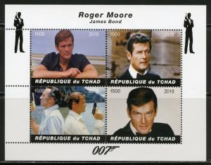 CHAD 2018 ROGER MOORE  007  SHEET OF FOUR  MINT NEVER HINGED