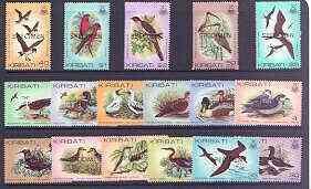 Kiribati 1982 Birds definitive set of 17 values opt'd SPE...