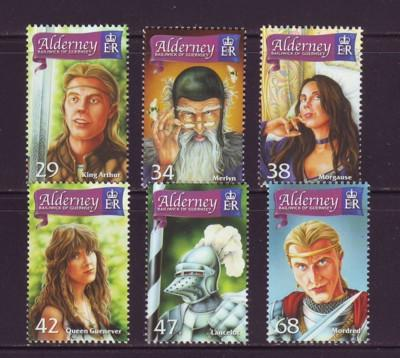 Alderney Sc 263-8 2006 King Arthur stamps NH