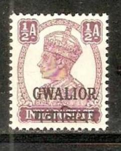 India Convention States -  GWALIOR 1942-49 ½A KG VI SG - 119 / Sc 101 Cat.