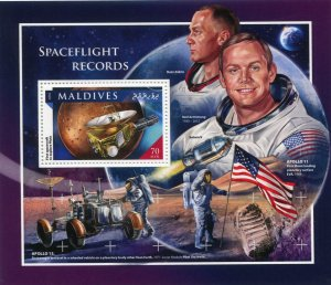 Maldive Islands 2016 SPACE APOLLO 11 Armstrong Aldrin s/s Perforated Mint (NH)