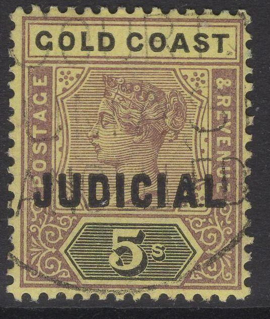 GOLD COAST Bft7 1899 5/= LILAC & BLACK/YELLOW USED