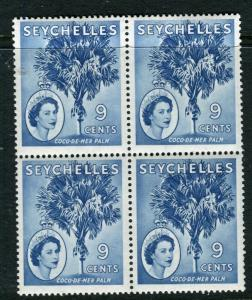 SEYCHELLES; 1954 early QEII issue fine Mint BLOCK of 9c. value