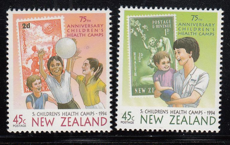 New Zealand 1994 MNH #B145-#B146 Children playing ball, Nurse holding child