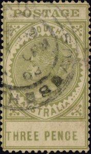 SOUTH AUSTRALIA - 1908 ADELAIDE / STH - 8 - AUS CDS on SG298 3d sage-green