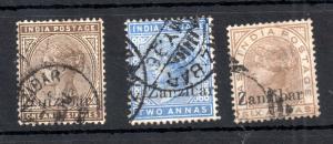 Zanzibar 1895 QV fine used collection 1A 6P, 2A & 6A WS13347