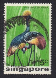 Singapore   #236  used   1975  birds    5c     crane