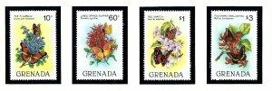 Grenada 1093-96 MNH 1982 Butterflies and Flowers   (KA)