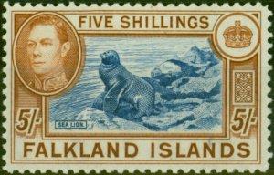 Falkland Islands 1938 5s Blue & Chestnut SG161 V.F MNH