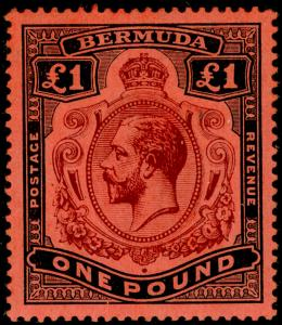 BERMUDA SG55, £1 purple & black/red, LH MINT. Cat £325.