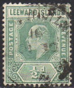 Leeward Islands 1907 ½d dull green used