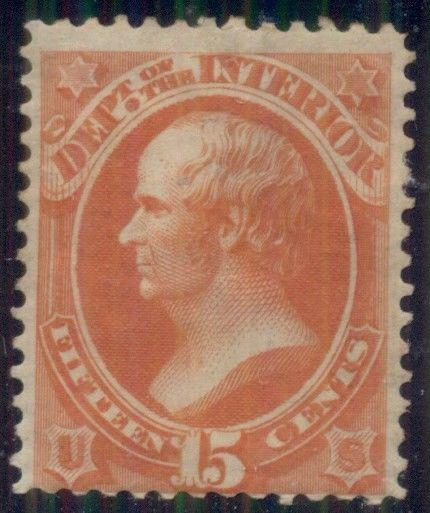 US #O21 15¢ Interior, og, hinged, fine and strong color, Scott $200.00