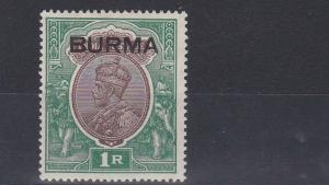 BURMA  1937  S G 13  1R  CHOCOLATE & GREEN    MH  CAT £70