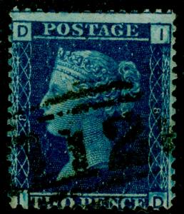SG45, 2d blue PLATE 8, USED. Cat £42. ID