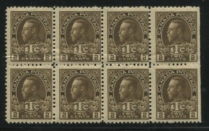 1916 Canada 2 cents War Tax block of 8 unmounted mint NH