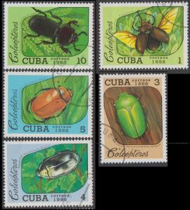 CUBA - Scott 3036 to 3040 USED (CTO) - BEETLES - Short set
