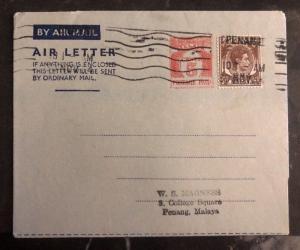 1954 Malaya Air Letter Cover To Penang Malaya BMA Overprints