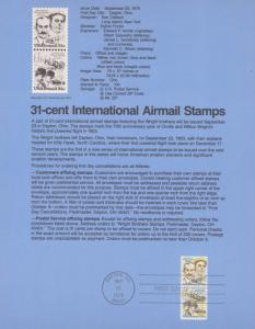 REDUCED!! 1979 WRIGHT BROTHERS  INT'L AIRMAIL FDC SOUVENIR PAGE