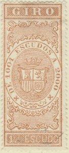 DEPENDENCIAS ESPAÑOLAS - 1868 Sello Fiscal (GIRO) 1 Escudo - usado