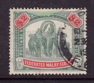 Federated Malay States--SC#74-used-$2 grn & car-Elephants & Hawdah