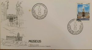 A) 1985, BRAZIL, MUSEUS, FIRST DAY COVER, MUSEUM OF INCONFIDENCE, BLACK GOLD, HI