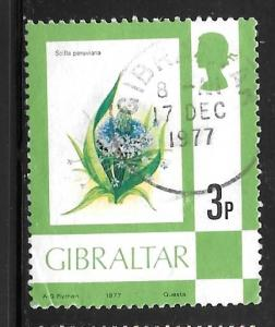 Gibraltar 344: 3p Giant Squill (Scilla peruviana), single, used, VF
