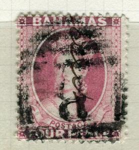 BAHAMAS; 1882-98 classic QV Crown CA issue used Shade of 1d. value POSTMARK B