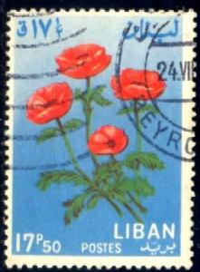 Flower, Anemone, Lebanon stamp SC#424 used
