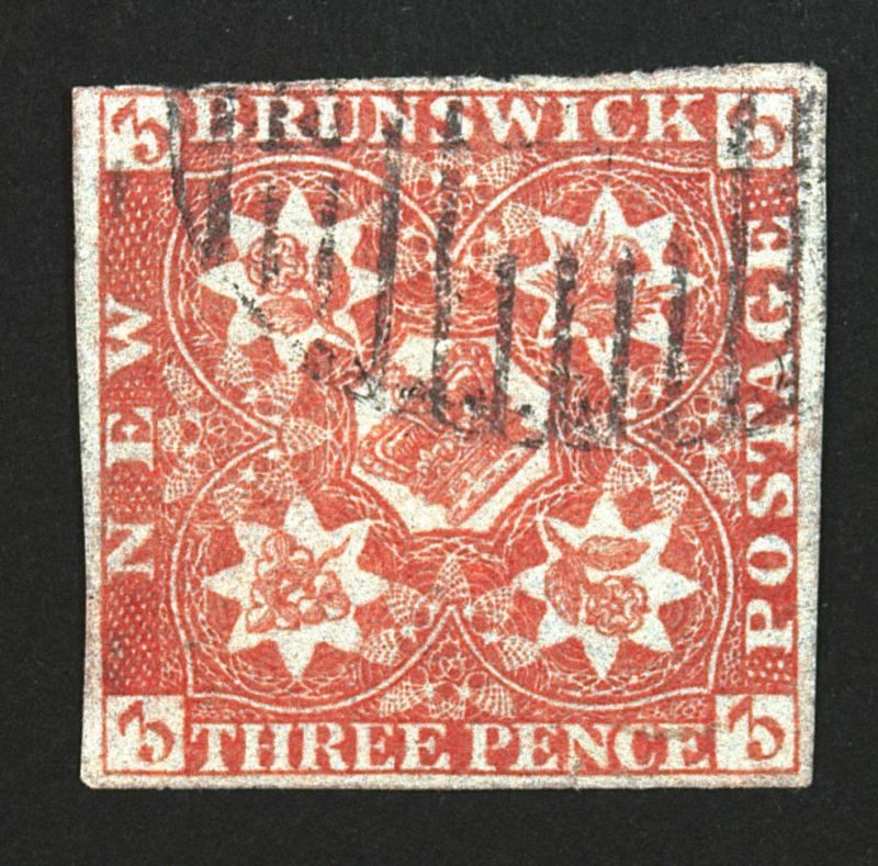 New Brunswick #1 3p Orange Red 1851 Used Rare