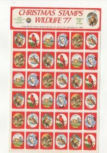 USA National Wildlife Federation Christmas Stamps 1977 Sheet of 36 MNH