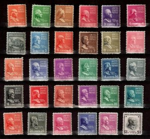 US 1938 -1939  Presidents Series Sc# 803 - Sc# 832 ($1.00)  Mint NH (30 Stamps)