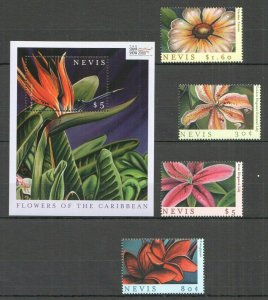 QF0509 2000 NEVIS FLOWERS OF THE CARIBBEAN FLORA 1BL+1SET FIX