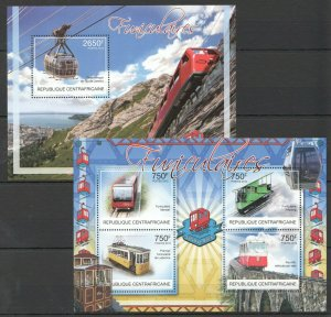CA855 2012 CENTRAL AFRICA TRANSPORT TRAINS FUNICULAIRES CABLE CARS BL+KB MNH