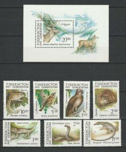 Uzbekistan 1993 Fauna Animals Birds 7 MNH stamps + Block