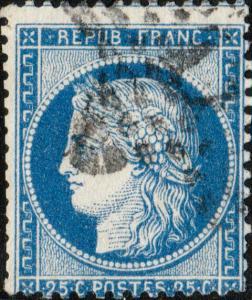 FRANCE - Yv.60A 25c (T.1) non planché - Étoile (17?) - B