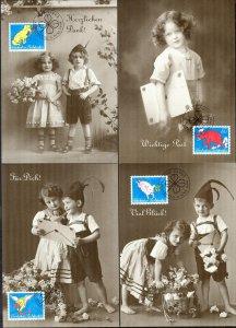 Liechtenstein 1994 Greeting Stamps 4 Maxi Cards FDC
