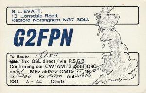 7287 Amateur Radio QSL Card  RADFORD ENGLAND
