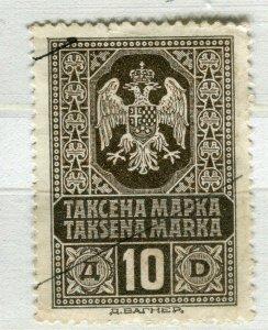 YUGOSLAVIA; Early 1900s classic Fiscal Revenue issue fine used 10m. value
