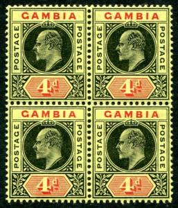 GAMBIA-1909 4d Black & Red-Yellow Block of 4 bottom two Unmounted Sg 76 LMM