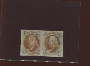 Scott 1 Franklin Imperf Used Pair of 2  Stamps  (Stock 1-A13)