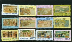 SIERRA LEONE 2001 JAPANESE PAINTINGS SET OF 12 STAMPS MNH