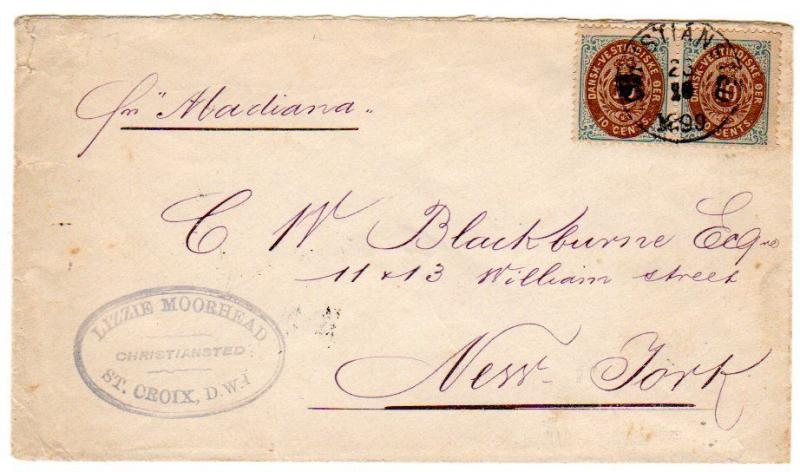 Danish West Indies Scott 22 and 28 on registered cover to the Loraen, Ohio, USA