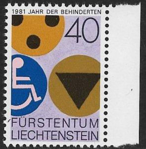 LIECHTENSTEIN 1981 YEAR OF THE DISABLED Issue Sc 712 MNH