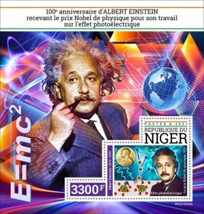 NIGER - 2021 - Einstein Wins Nobel Prize - Perf Souv Sheet - Mint Never Hinged
