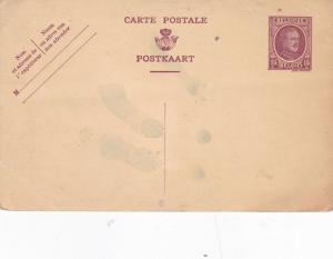 Belgium 15c King Albert Postcard Unused Some water drops Unused