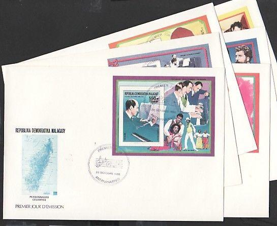 // Malagasy Rep., Scott cat. 869-874a. Composer s/sheets. First day covers.