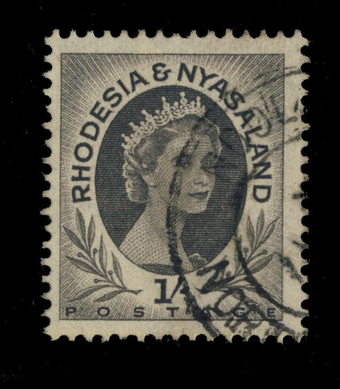 RHODESIA & NYASALAND - 1954/6 - NDOLA DOUBLE CIRCLE DATE STAMP ON SG9 1/-